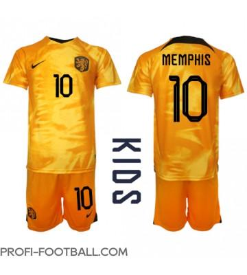 Alankomaat Memphis Depay #10 Koti Pelipaita Lasten EM-Kisat 2020 Lyhyet Hihat (+ Lyhyet housut)