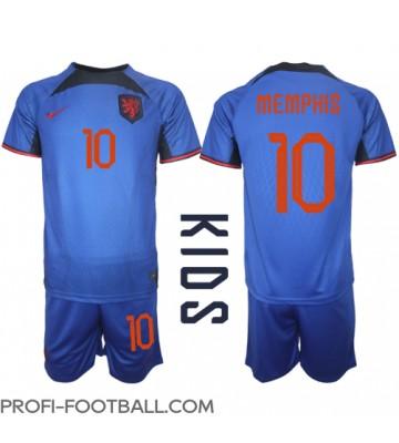 Alankomaat Memphis Depay #10 Vieras Pelipaita Lasten EM-Kisat 2020 Lyhyet Hihat (+ Lyhyet housut)