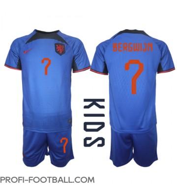Alankomaat Steven Bergwijn #7 Vieras Pelipaita Lasten EM-Kisat 2020 Lyhyet Hihat (+ Lyhyet housut)