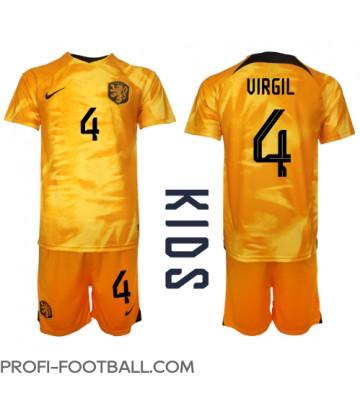 Alankomaat Virgil van Dijk #4 Koti Pelipaita Lasten EM-Kisat 2020 Lyhyet Hihat (+ Lyhyet housut)