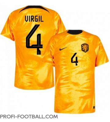 Alankomaat Virgil van Dijk #4 Kotipaita EM-Kisat 2020 Lyhyet Hihat