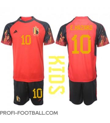 Belgia Eden Hazard #10 Koti Pelipaita Lasten EM-Kisat 2020 Lyhyet Hihat (+ Lyhyet housut)