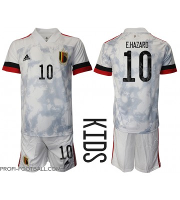 Belgia Eden Hazard #10 Vieras Pelipaita Lasten EM-Kisat 2020 Lyhyet Hihat (+ Lyhyet housut)