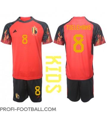 Belgia Youri Tielemans #8 Koti Pelipaita Lasten EM-Kisat 2020 Lyhyet Hihat (+ Lyhyet housut)