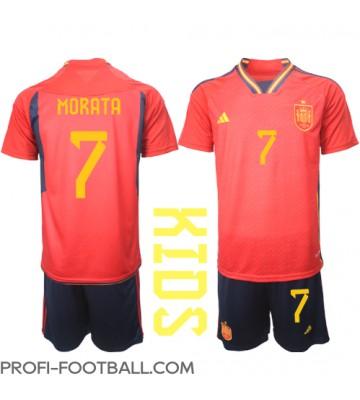 Espanja Alvaro Morata #7 Koti Pelipaita Lasten EM-Kisat 2020 Lyhyet Hihat (+ Lyhyet housut)
