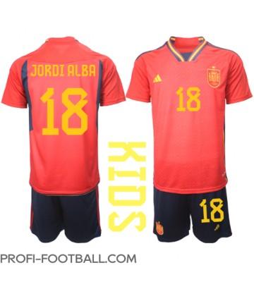 Espanja Jordi Alba #18 Koti Pelipaita Lasten EM-Kisat 2020 Lyhyet Hihat (+ Lyhyet housut)