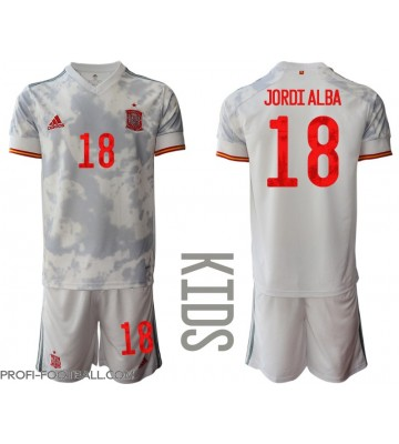 Espanja Jordi Alba #18 Vieras Pelipaita Lasten EM-Kisat 2020 Lyhyet Hihat (+ Lyhyet housut)