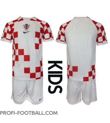 Kroatia Koti Pelipaita Lasten EM-Kisat 2020 Lyhyet Hihat (+ Lyhyet housut)