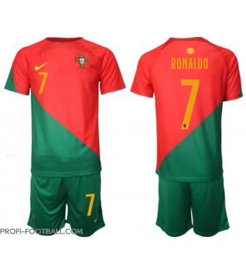 Portugali Cristiano Ronaldo #7 Koti Pelipaita Lasten EM-Kisat 2020 Lyhyet Hihat (+ Lyhyet housut)