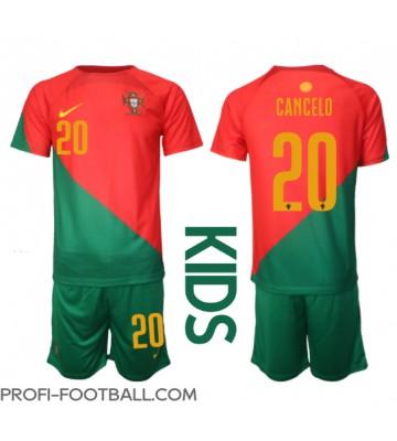 Portugali Joao Cancelo #20 Koti Pelipaita Lasten EM-Kisat 2020 Lyhyet Hihat (+ Lyhyet housut)