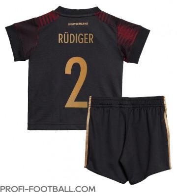 Saksa Antonio Rudiger #2 Vieras Pelipaita Lasten EM-Kisat 2020 Lyhyet Hihat (+ Lyhyet housut)