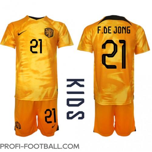 Alankomaat Frenkie de Jong #21 Koti Pelipaita Lasten EM-Kisat 2020 Lyhyet Hihat (+ Lyhyet housut)